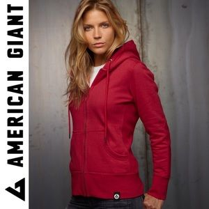 AMERICAN GIANT CLASSIC ZIP HEAVYWAIGHT HOODIE RED